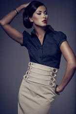 Black Collared Blouse with Pleated Cap Sleeves