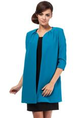Front Open Turquoise Blazer With Pleated Neckline