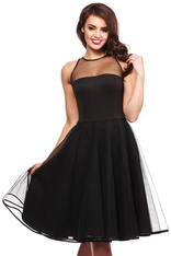 Black Cheeky Mesh Skater Party Dress