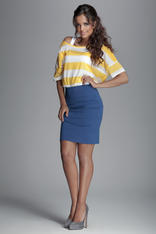 Horizantal Seam Short Pencil Blue Skirt