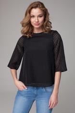 Sheer black bouncy blouse with high neckline
