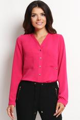 V-Neckline Button-Down Pink Blouse