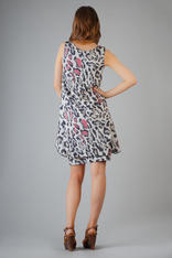 Leopard Printed Balloon Dress with Waterfall Side Panels