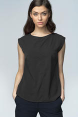 Black High Neck Sleeveless Blouse with Curved Hemline