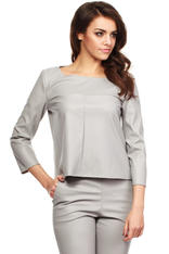 Grey Ultra Classic Boxy Crop Blouse