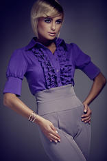 Dark Purple Vintage Collared Blouse with Ruffled Details and Wide Cuffs