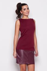 Maroon Leather Hemline Sleeveless Shift Dress