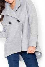 Grey Double Breasted Coat with Dippy Hemline