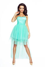 Mint Bandeau Prom Lace Dress