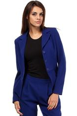 Dark-blue Peacock Collar Breasted Blazer with Peplum Hem
