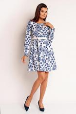 White and Blue Floral Printed Flippy Dress with Fabric Belt