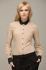 Beige Vintage Blouse With Black Round Collar And Cuffs