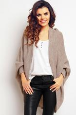 Beige oversized knit sweater with batwing sleeves