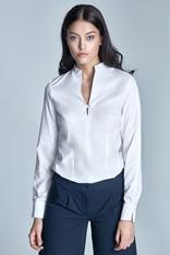 White blouse with slit neckline and cuffs