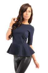 Crew Neck Seamed Frill Hem Navy Blue Top