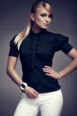 Black Collared Blouse with Bow Details and Pleated Cap Sleeves