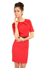 Red Pleated Neckline Belted Shift Dress