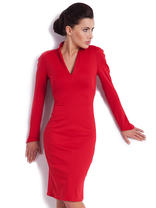 Red Fitted Modern Swan Office Dress