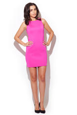 Fuchsia Sleeveless Chic Dress with Back Zipper Fastening