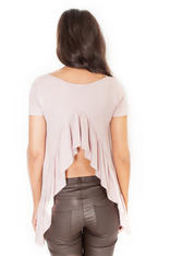 Pink Asymmetrical T-Shirt Blouse with Slit Waterfall Back