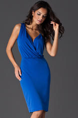 Blue Wraparound V-Neckline Sleeveless Shift Dress