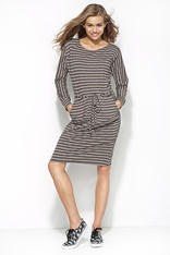Grey and Navy Blue Striped Shirt Dress with Draw String Waist