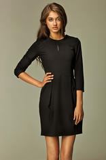 Seam Black Dress with Wide Pleated Skirt