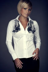 Collared White Shirt with Top Stitch Bust Seams