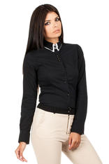 Black Button Down Collar Executive Shirt