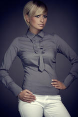 Petite Collared Vintage Bow Neck Grey Shirt