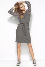 Grey Flecked Dress with Raglan Striped Sleeves and Self Tie Waist Belt