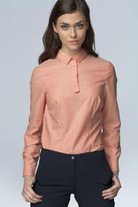 Salmon Work Shirt for Women with Decorative Button Down Seam