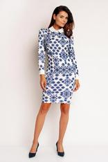 Minimalist Printed White - Blue Dress With White Collar