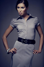 Grey Collared Blouse with Pleated Cap Sleeves
