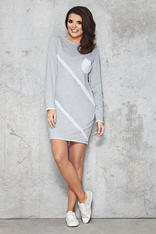 Grey Pocketed Front Sporty Fab Dress