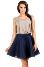Navy Blue Skater Skirt with Umbrella Hemline