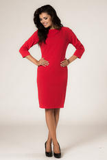 Red Seam Shift Dress with Back Zip Fastening