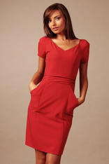 Red Back Slit Seam Dress with Back Zipper and Side Pockets