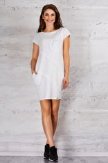 White Sporty Tunic Dress with Front Pocket