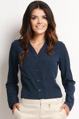 V-Neckline Button-Down Navy Blue Shirt
