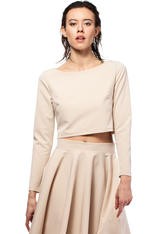 Cappuccino Cropped Blouse with Bateau Neckline and Side Zipper