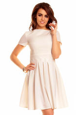 Cream Pleated Seam Dress with Metallic Emblem
