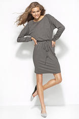 Flecked Grey Sweatshirt Dress with Self Tie Waist