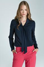 Chic Navy Blue Blouse With Sash