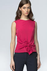 Fuchsia Glasses Printed Blouse with Bow Tie Waist