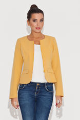 Round Neck Yellow Blazer with Semi Zipper Fastening