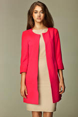 Straight Cut Round Neck Front Open Long Pink Blazer