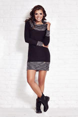 Black Shift Dress with Flecked Cowl Neck