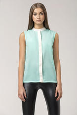 Light green sleeveless blouse with contrast piping