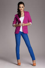 Contrast Sleeves Fuchsia Jacket with Twin Side Flap Pockets